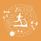 Vector illustration of the man jogging on a treadmill and differ. Ent kinds of sports equipment arranged in a circle. Including icons of skipping rope, stopwatch Stock Images