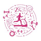 Vector illustration of the man jogging on a treadmill and differ. Ent kinds of sports equipment arranged in a circle. Including icons of skipping rope, stopwatch Stock Photography