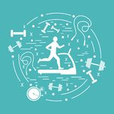 Vector illustration of the man jogging on a treadmill and differ. Ent kinds of sports equipment arranged in a circle. Including icons of skipping rope, stopwatch Royalty Free Stock Images