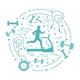 Vector illustration of the man jogging on a treadmill and differ. Ent kinds of sports equipment arranged in a circle. Including icons of skipping rope, stopwatch Royalty Free Stock Photos