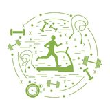 Vector illustration of the man jogging on a treadmill and differ. Ent kinds of sports equipment arranged in a circle. Including icons of skipping rope, stopwatch Stock Image