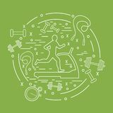 Vector illustration of the man jogging on a treadmill and differ. Ent kinds of sports equipment arranged in a circle. Including icons of skipping rope, stopwatch Royalty Free Stock Photo