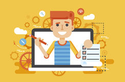 Vector illustration man laptop notebook offers fill in application form design element education in flat style Stock Photography
