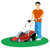 Vector illustration of a man with lawn mower Stock Photos