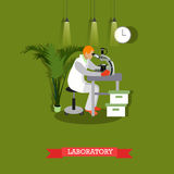 Vector illustration of man looking through microscope in flat style Royalty Free Stock Photos