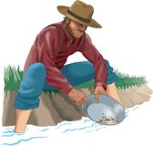 Gold Prospector Vector Illustration. A vector illustration of a man panning for gold in a river or stream stock illustration