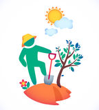 Vector illustration man planting a tree and admire the sun. Garden under the hot sun Royalty Free Stock Images