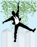 Man in rain of money. Vector illustration of man in the rain of money stock illustration
