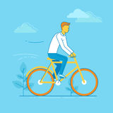 Vector illustration - man riding bicycle Royalty Free Stock Images