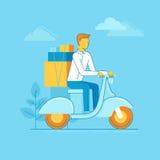 Vector illustration - man riding motorbike Stock Photo
