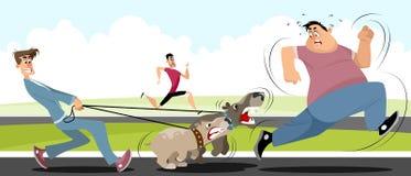 Man running away from dogs. Vector illustration of a man running away from dogs Royalty Free Stock Photo