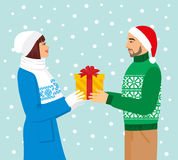 Vector illustration of a man in Santa hat gives a girl a gift Stock Photo