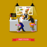 Vector illustration of man serving visitors in fast food restaurant Royalty Free Stock Images