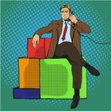 Vector illustration of man sitting on gift, talking over phone. Vector illustration of man, businessman sitting on gift and talking over the phone, retro pop art Royalty Free Stock Images