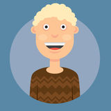 Vector illustration of a man smiling with blond curly hair in a brown sweater on a dark blue background Stock Image