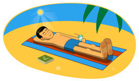 Vector illustration of man sunbathing on the beach. Vector illustration of man sunbathing on the sand beach Royalty Free Stock Photo