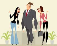Man and two women. Vector illustration of a man and two women Royalty Free Stock Photography
