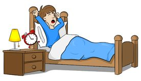 Man wakes up in the morning by the alarm clock vector illustration