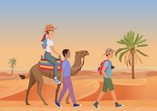 Vector illustration of man walking with guide and woman riding camel in desert. Vector illustration of man walking with guide and woman riding camel in desert Stock Photography