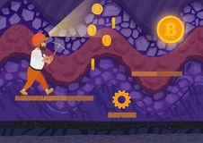 Vector illustration of man walking with pickaxe in bitcoin mine. Cartoon 2d game style illustration. Vector illustration of man walking with pickaxe in bitcoin Royalty Free Stock Images