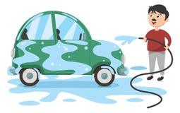 Vector Illustration Of Man Washing Car. Eps 10 Stock Photography