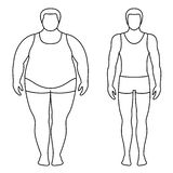 Vector illustration of a man before and after weight loss. Male body contours. Royalty Free Stock Images