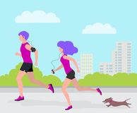 Vector illustration of man, woman and dog Dachshund running in city Park, flat design vector illustration