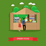 Vector illustration of man and woman near street food stall. Street food concept vector illustration in flat style. Young man and woman standing near food stall stock illustration