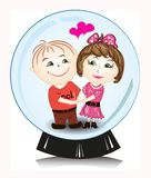 Vector illustration - man and woman in snow  globe Stock Photos