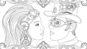 Man and girl in suits steampunk royalty free illustration