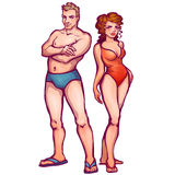 Vector illustration of man and women in swimsuit Royalty Free Stock Images