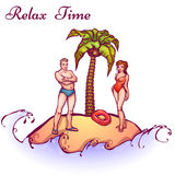 Vector illustration of man and women in swimsuit Royalty Free Stock Photography