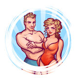 Vector illustration of man and women in swimsuit Stock Photography