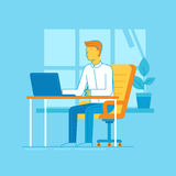 Vector illustration - man working sitting at the desk with lapto Royalty Free Stock Image