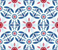 Vector illustration of mandala, seamless pattern. Vector illustration of mandala, floral seamless pattern with northern motifs, leaves and flowers in red and Royalty Free Stock Photo