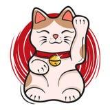 Vector illustration of maneki neko. Japanese lucky cat fortune Stock Photo