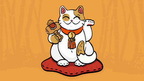 Vector illustration of maneki neko talisman cat beckoning wealth and happiness. Vector illustration of maneki neko talisman cat beckoning wealth with an upright Stock Images
