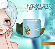 Vector Illustration with Manga style girl and Alginate Mask. Alginate Peel-Off Powder facial Mask ads. Vector Illustration with Manga style girl and Alginate Stock Photography