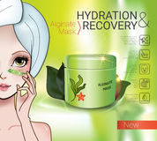 Vector Illustration with Manga style girl and Alginate Mask. Alginate Peel-Off Powder facial Mask ads. Vector Illustration with Manga style girl and Alginate Royalty Free Stock Photo