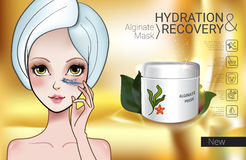 Vector Illustration with Manga style girl and Alginate Mask. Alginate Peel-Off Powder facial Mask ads. Vector Illustration with Manga style girl and Alginate Stock Photo