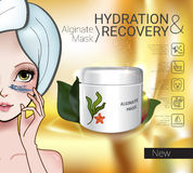 Vector Illustration with Manga style girl and Alginate Mask. Alginate Peel-Off Powder facial Mask ads. Vector Illustration with Manga style girl and Alginate Stock Image