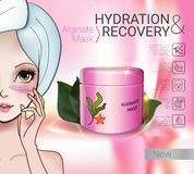Vector Illustration with Manga style girl and Alginate Mask. Alginate Peel-Off Powder facial Mask ads. Vector Illustration with Manga style girl and Alginate Stock Photos