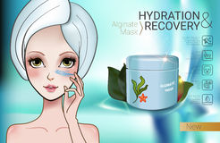 Vector Illustration with Manga style girl and Alginate Mask. Alginate Peel-Off Powder facial Mask ads. Vector Illustration with Manga style girl and Alginate Royalty Free Stock Photography