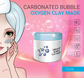 Vector Illustration with Manga style girl and carbonated bubble mask Stock Photo