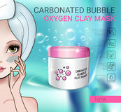 Vector Illustration with Manga style girl and carbonated bubble mask Stock Photos