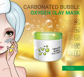 Vector Illustration with Manga style girl and carbonated bubble mask Royalty Free Stock Images