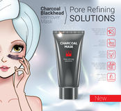 Vector Illustration with Manga style girl and Charcoal Mask tube. Royalty Free Stock Photography