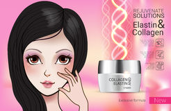 Vector Illustration with Manga style girl and collagen cream Stock Photo