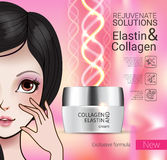Vector Illustration with Manga style girl and collagen cream Stock Image