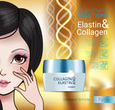 Vector Illustration with Manga style girl and collagen cream Stock Photography